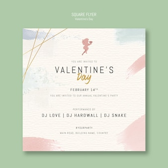 Valentine's day pay invitation square flyer
