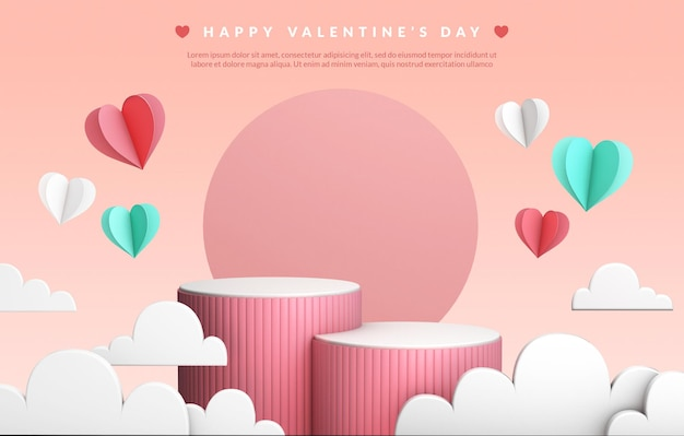 Valentine's day podiums surrounded by clouds and hearts in 3d rendering