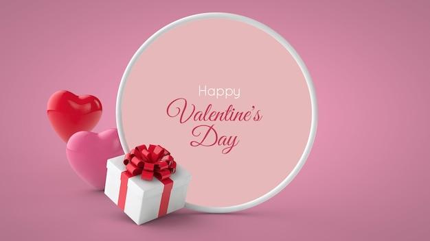 Valentine's day postcard in 3d illustration