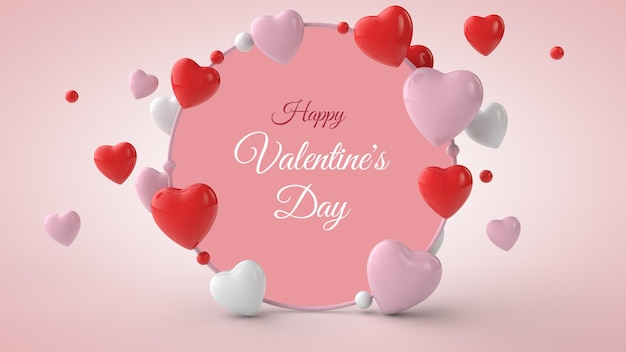 Valentine's day postcard mockup with present in 3d illustration