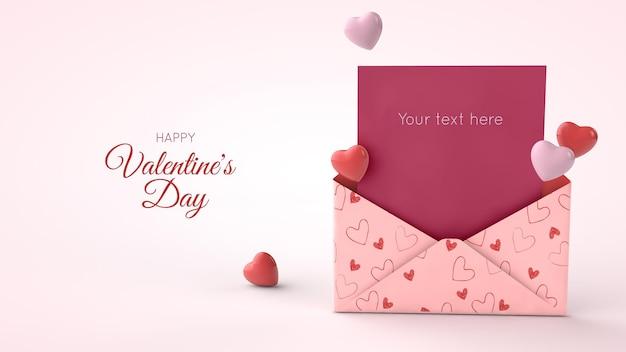 Макет открытки ко дню святого валентина с подарком в 3d иллюстрации