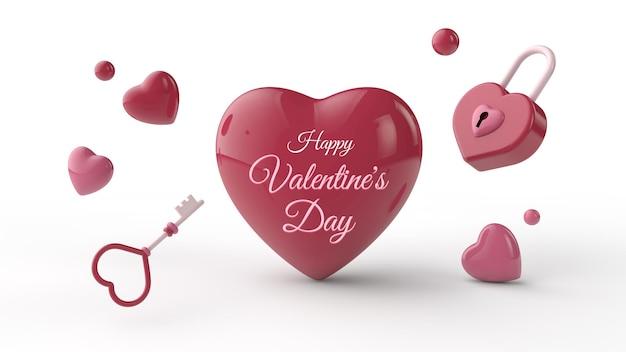 3dイラストでプレゼントとバレンタインデーのポストカードのモックアップ
