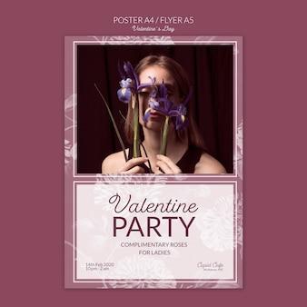 バレンタインデーのポスターコンセプトモックアップ