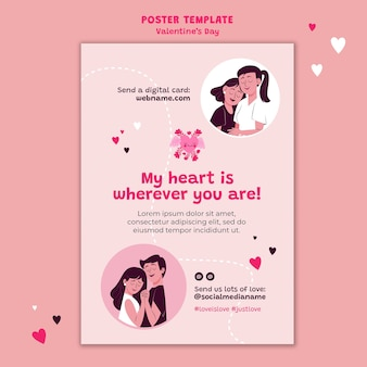 Modello di poster di san valentino illustrato