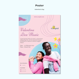 Modello di poster di san valentino con foto