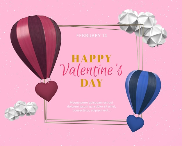 Valentine's day rendering with gold frame and hearts balloon