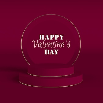 Valentine's day rendering with gold frame and podiums
