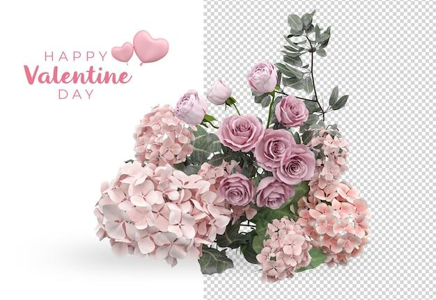 バレンタインデーのバラの花の装飾のモックアップデザイン