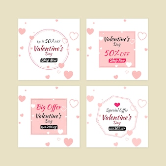 Valentine's day sale banner set