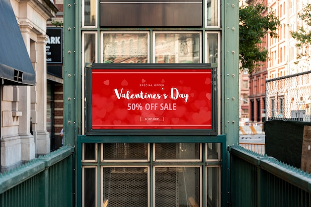 Valentine's day sale billboard mock-up
