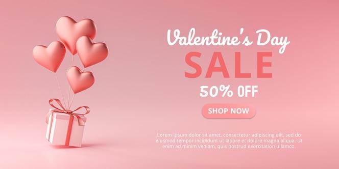San valentino vendita a forma di cuore ballon che trasportano confezione regalo rendering 3d