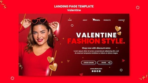 Valentine's day sales landing page template
