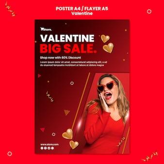 Modello di poster di vendita di san valentino