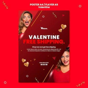 Шаблон рекламного плаката ко дню святого валентина