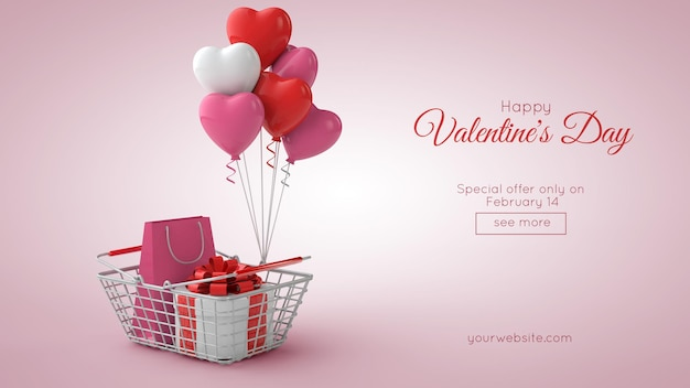Valentine's day shopping and sale mockup in 3d illustration