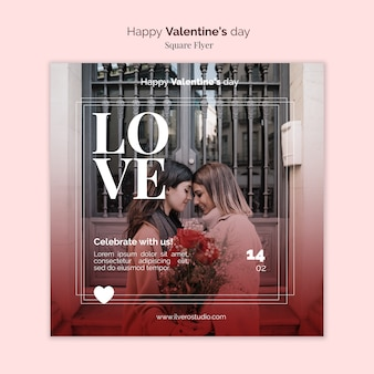 Valentine's day square flyer with female couple
