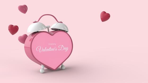 バレンタインデーのテンプレート。ハート型の目覚まし時計と空飛ぶ赤いハート。テキストの場所。 3dイラスト