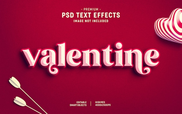 Valentine's day text effect template