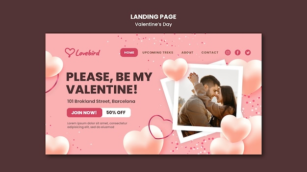 Valentine's day web template with photo