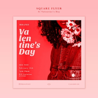 Valentine's day woman with flowers flyer