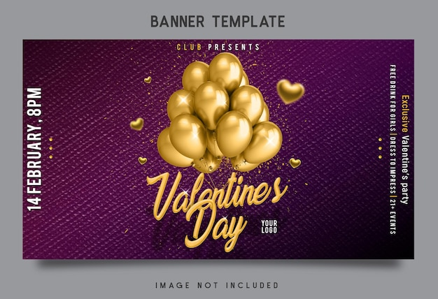 Дизайн шаблона баннера валентинки
