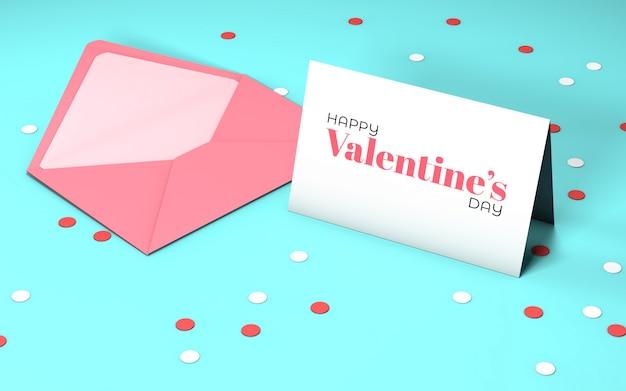 봉투와 함께 발렌타인 파티 초대장