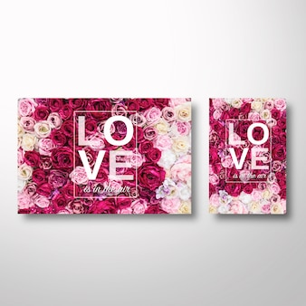 Valentine's template with flowers on the background