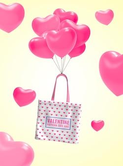 Valentine shopping promotion banner mockup
