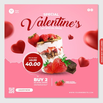 Valentine social media post banner template for food