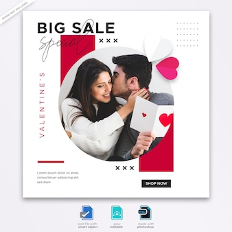 Valentine social media post banner template