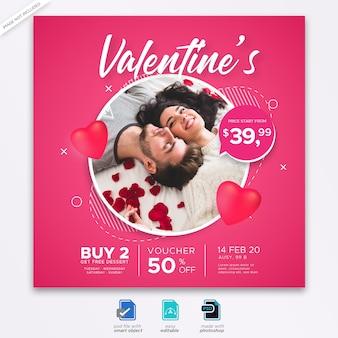 Valentine social media post banner template