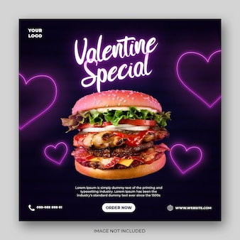 Valentine special food instagram template