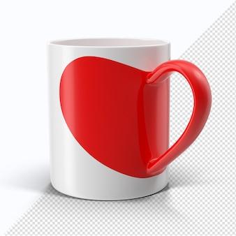 分離されたバレンタインの白と赤のハートマグカップ