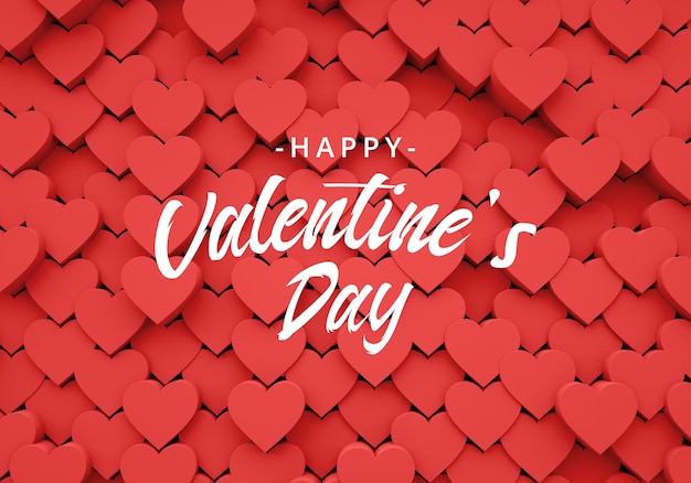 Valentines background with 3d hearts love
