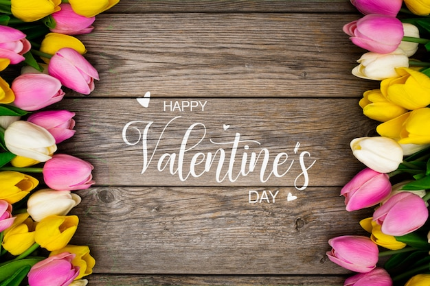 Valentines background with colorful flowers