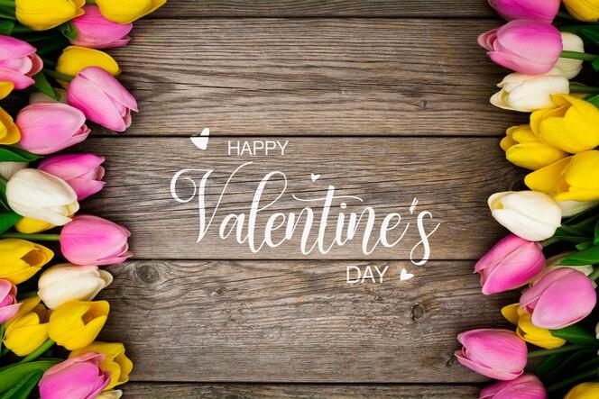 화려한 꽃으로 발렌타인 데이 배경