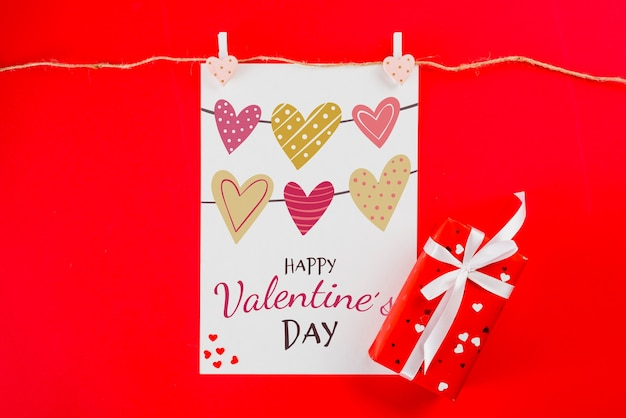 Valentines card mockup on clothes line