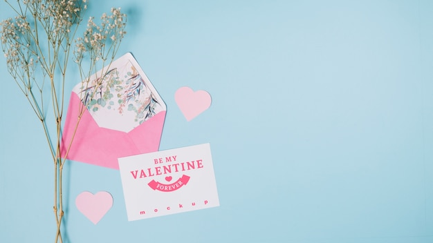 Valentines card mockup with decorative composition