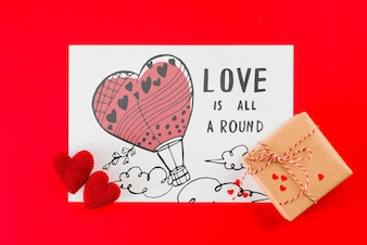 Valentines card mockup with presents