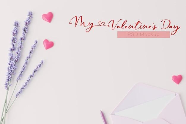3dレンダリングでのバレンタインデーの背景カードのモックアップ