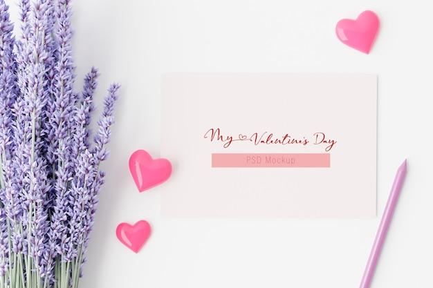 3d 렌더링에서 발렌타인 데이 배경 카드 모형