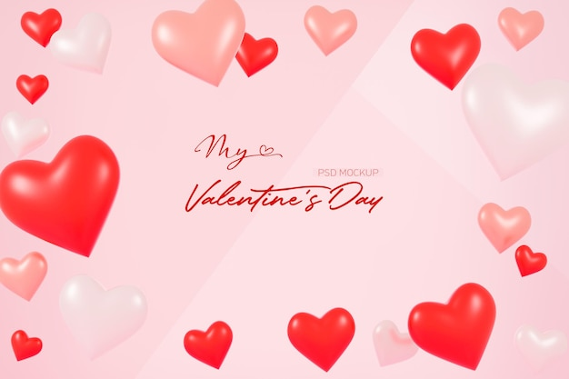 Valentines day background mockup with heart shaped in 3d rendering