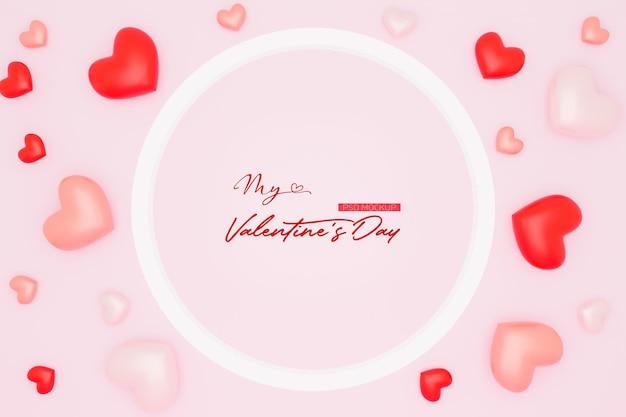 3dレンダリングで形作られたハートとバレンタインデーの背景モックアップ
