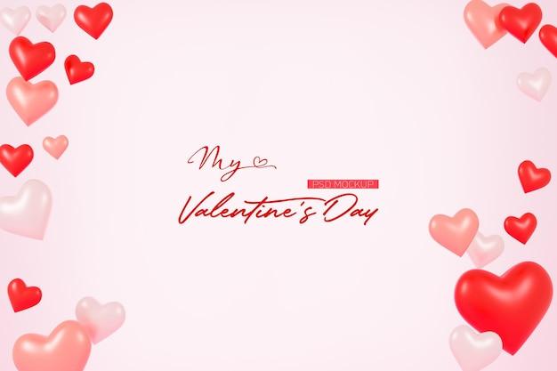 3d 렌더링에서 모양의 하트와 발렌타인 배경 모형