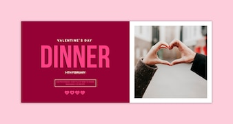 Valentines day banner mockup with image