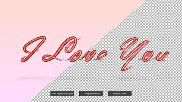 Valentines day banner with i love you text mockup