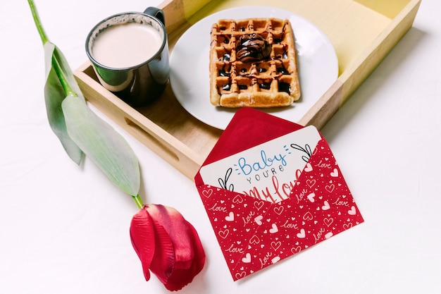 Valentines day card mockup with breakfast