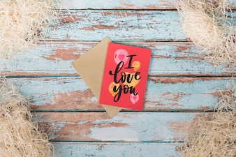 Valentines day card mockup with copyspace