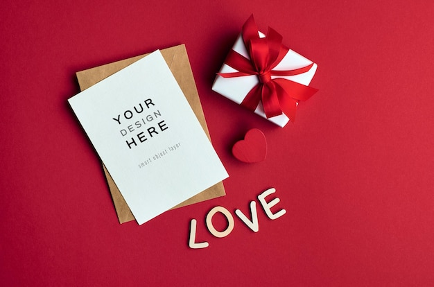 Valentines day card mockup with gift box and love letters