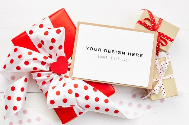 Valentines day card mockup with gift boxes on white background